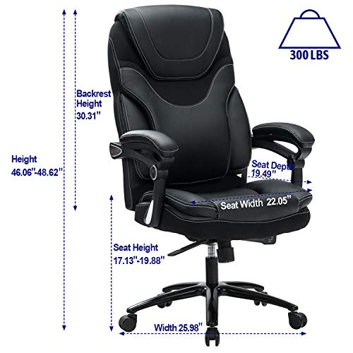 Product Image 6: KCREAM Office Chair,Adjustable Computer Chair PU Leather Swivel Task Chair Flip-up Armrests Ergonomic Desk Chair with Thick Padded Lumbar Support (9109-balck)