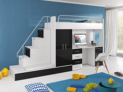 Möebel für Dich Hochbett TOMI - Schreibtisch, Schrank, Treppe und Gästebett mit Hochglanz-Fronten in weiß/schwarz/rosa/grau/lila/blau (schwarz)