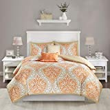 Intelligent Design Senna Comforter Set King/Cal King Size - Orange/Taupe, Damask – 5 Piece Bed Sets – Ultra Soft Microfiber - All Season Comforter Set Bedding