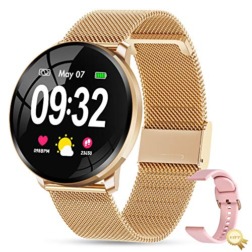 GOKOO Montre Connectée Femmes Montre Intelligente Femme Etanche Cardiofréquencemètre Moniteur de Sommeil Smartwatch Podomètre Bracelet Connecté Montre Sport Fitness Tracker d'Activité pour Android iOS