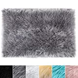 LOCHAS Ultra Soft Fluffy Rugs Faux Fur Sheepskin Area Rug for Bedroom Bedside Living Room Carpet Nursery Washable Floor Mat, 2x3 Feet Gray
