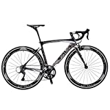 SAVADECK Carbon Road Bike, Warwinds3.0 700C Carbon Fiber Racing Bicycle with SORA 18 Speed Derailleur System and Double V Brake (Grey, 54cm)