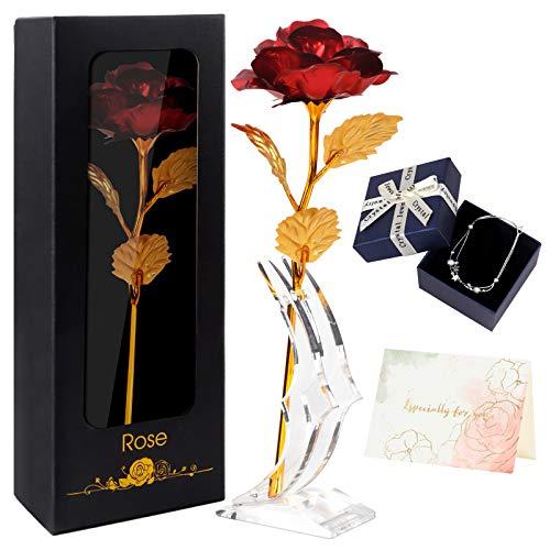 Joyhoop Rosa Eterna, Rosa Roja con Base y Tarjeta de Felicitación, Rosa Regalos Originales para Mujer, Regalos Mujer,, Mejor Regalos y Decoración