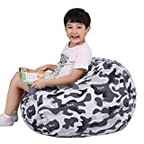 Lukeight Stuffed Animal Storage Bean Bag Chair for Kids, Zipper Storage Bean Bag for Organizing Stuffed Animals, Camo Bean Bag Chair Cover, (No Beans) X-Large