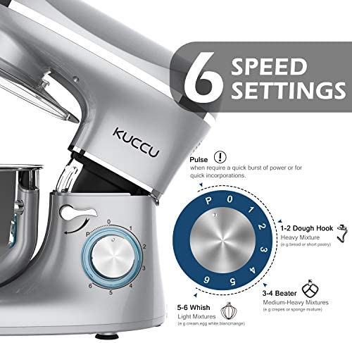 KUCCU Stand Mixer, 6 Qt 660W, 6-Speed Tilt-Head Food Dough Mixer, Kitchen Electric Mixer with Stainless Steel Bowl,Dough Hook,Whisk, Beater, Egg white separator (6-QT, Silver-1)