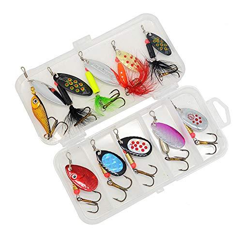 OYSJ 10PCS Fishing Set, Esche per Pesca alla Trota Cucchiaino, Colorato Esche da Pesca, per Pesca in Acqua Salata, Trota, Pesce Persico, Esche Luccio
