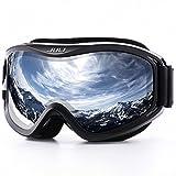 Juli Ski Goggle/Snow Snowboard Goggles for Men, Women & Youth - 100% UV Protection Anti-Fog Dual Lens(Black Frame+12% VLT Silver Len)