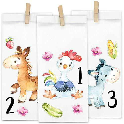 Papierdrachen DIY Adventskalender zum Befüllen - Waldtiere 2019 - Direkt zum Aufkleben und selber...