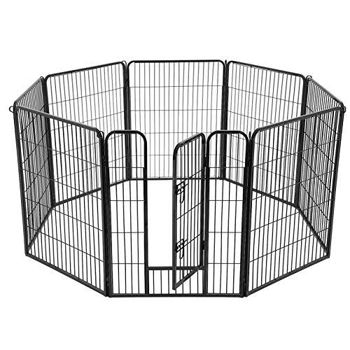 FEANDREA Recinto 8 Pannelli per Animali, Box per Cani, 77 x 100 cm, Nero PPK81H