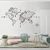MRQXDP Carte du monde abstrait avec flèche sticker mural terre de boussole...