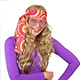 NET TOYS Bandeau années 70 Serre-tête Hippie Orange / Jaune Turban Flower Power années 60 Cheveux Peace Accessoire Carnaval soirée déguisée Costume de Carnaval Accessoires