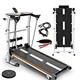 OKBOP Folding Treadmill for Home, 4-in-1 Portable Foldable Compact Under Desk Mini Manual Treadmills Machine with Incline for Small Space, Running, Supine, T-wisting, Draw Rope (Black)