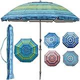 Blissun 7.2' Portable Beach Umbrella with Sand Anchor, Tilt Pole, Carry Bag, Air Vent (Green)