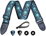 Hootenanny Guitar Strap, Jacquard Weave Embroidered Strap Includes 2 Strap Locks & 2 Unique Picks. Adjustable Woven Guitar Strap, Pick Pocket, For Bass, Electric & Acoustic Guitars