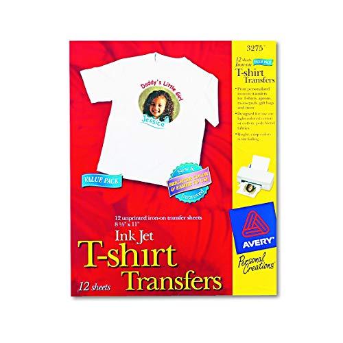 Avery Printable T-Shirt Transfers, For Use on Light Fabrics, Inkjet Printers, 12 Paper Transfers (3275)
