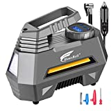 HAUSBELL Portable air Compressor for Car Tires, 12V DC tire inflator Pump with Digital Pressure Gauge, 150 PSI with Emergency LED Flashlight for Car, Bicycles, Balloons and Other Inflatables