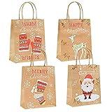 Gudotra 24pcs Sacs Papier de Noël Sacs de Cadeau de Papier Kraft avec Poignée...