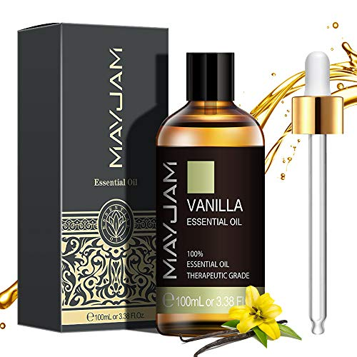MAYJAM Huiles Essentielles de Vanille 100 ml, 100% Naturelles Pures Huile Essentielle D'aromathérapie de Qualité Thérapeutique, Huiles Parfumées pour Diffuseur Humidificateur Détente Cadeaux Parfaits