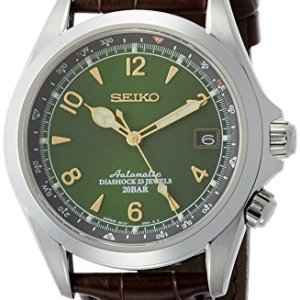Seiko Men's Stainless Steel Japanese-Automatic Watch with Leather Calfskin Strap, Brown, 20 (Model: SARB017) 46
