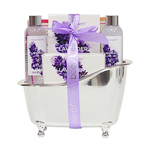 Bath Spa Gift Basket for Women, Body & Earth Lavender Scented 4 Pcs Home Spa Gift Kit with Shower Gel, Bubble Bath, Bath Salts and Bath Soap, Best Gift for Her