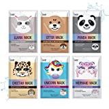 Epielle Character Sheet Masks | Animal Spa Mask | -For All Skin Types |spa gifts for women, Spa Gift, Birthday Party Gift for her kids, Spa Day Party, Girls Night, Stocking Stuffers (Assorted Character Mask-6pk A)