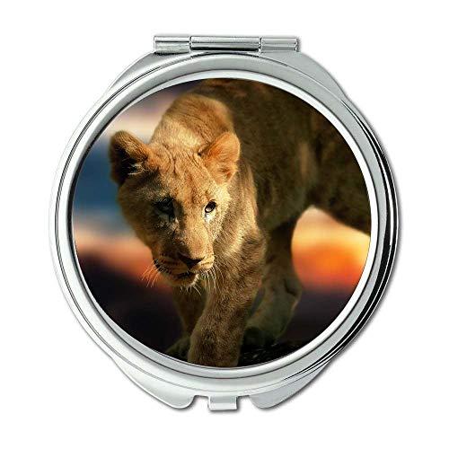 Specchio, specchio per il trucco, predatore di mammiferi leone, specchio tascabile, specchio...
