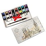 Coffret cadeau d'écriture cadeau tylos de calligraphie en bois avec 3 stylos différents et 8 couleurs d'encre HO-Q-306