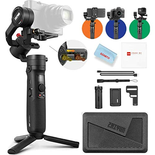 Zhiyun Crane-M2 (Crane M Upgraded Version) Handheld 3-Axis Gimbal Stabilizer Compatible with Smartphone iPhone Android, Gopro 7 6 5, DC Mirrorless Camera, 130g - 720g Payload