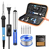 Soldering Iron Kit, [Upgraded] 60W Adjustable Temperature Welding Tool with ON-OFF Switch, Rarlight Soldering Kits, 5pcs Soldering Iron Tips,Desoldering Pump,Solder Wire,Soldering Iron Stand,Carry Bag