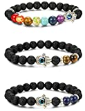 LOYALLOOK 3pcs Evil Eye Bracelet Lava Stone Beads Essential Oil Diffuser Bracelet for Men Women