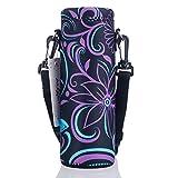 AUPET Water Bottle Carrier,Purple Flower 500ML Water Sport Bottle Cover Pouch Insulated Soft Sleeve Holder Case +Shoulder Strap