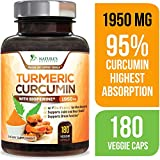 Turmeric Curcumin with BioPerine 95% Curcuminoids 1950mg with Black Pepper for Best Absorption, Made in USA, Best Vegan Joint Support, Turmeric Supplement Pills by Natures Nutrition - 180 Capsules