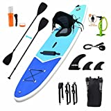 Zupapa Inflatable 10FT Stand Up Paddle Board with Seat and Non-Slip Deck, Paddleboard Kayak Combo, for Adults Kids Dogs,3-Year Warranty Provided