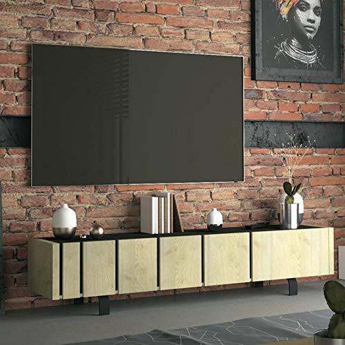 Mobile TV industriale colore legno e effetto cemento Kara