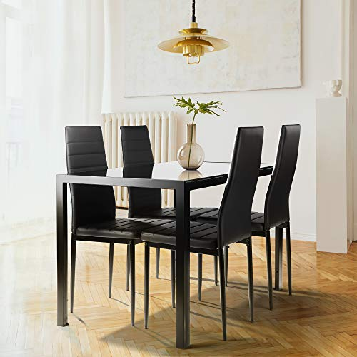 Yaocheey 5 Pieces Dining Table Set for 4,Kitchen Room Tempered Glass Dining Table,4 Faux Leather Chairs,Black