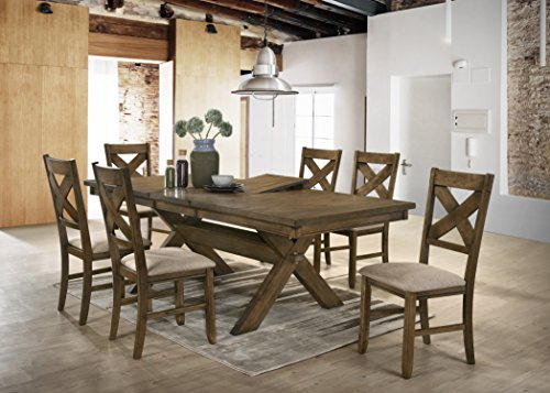 Roundhill Furniture Raven Wood Dining Set: Butterfly Leaf Table, Six Chairs, Glazed Pine Brown
