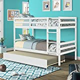 Twin Over Twin Bunk Bed with Trundle,Kids Bunk Bed Frame with Twin Size Trundle and Guard Rail Ladder,Kids Bunk Beds Convertible to 2 Twin Size Platform Bed,Trundle Bed for Bedroom Girls Boys,White