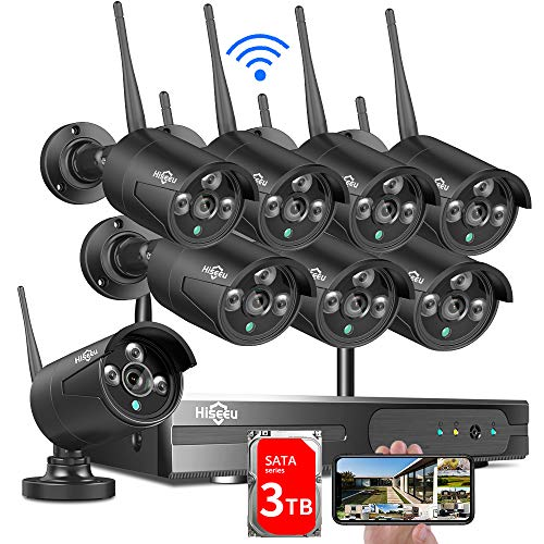 3TB HDD Pre-Install Hiseeu Wireless Security Camera System, 8CH 1080P NVR 4Pcs Outdoor/Indoor WiFi Surveillance Camera with Night Vision, Waterproof, Motion Alert, Remote Access