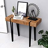 Ivinta Modern Industrial Narrow Console Table for Entryway 40 Inch Thicken Rustic Dark Oak Wood Veneer Finish Tabletop Slim Entry Table for Hallway Foyer Living Room Office Sofa