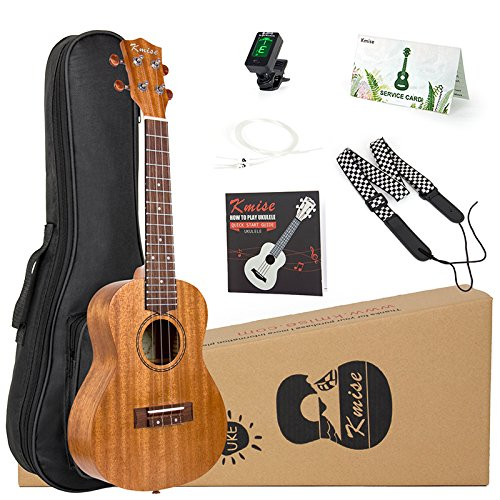 Kmise Concert Ukulele Starter Kit Mahogany Ukelele 23 inch for Beginners with Gig Bag Tuner Strap String Instruction Booklet