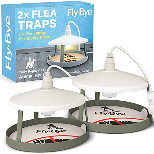 2x ULTIMATE FLEA TRAPS by Fly-Bye® + 12 Sticky Discs - Uniquely...