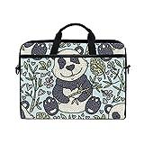 Funda para Computadora Portátil,Panda de Dibujos Animados Lindo con Bambú,Funda Ordenador Portátil Bolso Protectora Bolsa para Computadora Portátil con Asa La Correa con El Hombro