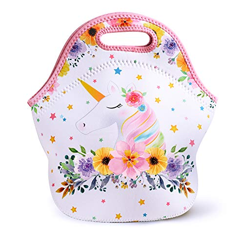 WERNNSAI Unicorn Lunch Bag - Neoprene Insulated Cooler Lunch Tote Waterproof and Durable for Kids Picnic School Work Shopping Travel Bag with Zipper, Best Gifts