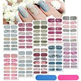 140 Pieces 10 Sheets Full Wrap Nail Stickers Nail Polish Stickers Gradient Glitter Nail Wraps Self Adhesive DIY Nail Art Decals Strips with 2 Pieces Nail Files for Women Girls (Classic Style)