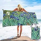 Lawenp Toalla de Playa de Secado rápido, Lirios por Pinturas al óleo Toallas de baño Ligeras de Microfibra Impresas súper absorbentes para niños y Adultos 31.5 'X63'