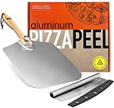 OUII Pizza Peel Aluminum Metal Pizza Paddle 12 x 14 inch - Pizza Cutter 14'' Rocker Blade Pizza Spatula for Pizza Stone, Pizza Oven Accessories. Pastry, Dough, Bread Peel and Rocker Knife Pizza Tools