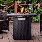 LEGACY HEATING 28inch Wicker &Rattan Square Propane Fire Pit Table, Outdoor Dinning Gas Fire Table with Lid, 50,000BTU, Lava Stone, ETL Certification, for Outside Garden Backyard Deck Patio