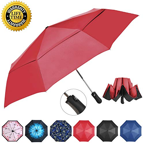 Prodigen Inverted Folding Umbrella Travel Umbrella Windproof Compact Umbrella Inside Out Umbrella Reversible Reverse Umbrella Automatic Open and Close Umbrella for Woman & Man UV Sun & Rain (Wine Red)