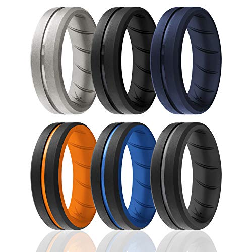 ROQ Silicone Rings, Breathable Silicone Rubber Wedding Ring Band for Men with Comfort-Fit Design, 8mm Engraved Duo, 6 Pack, Silicone Wedding Ring - Black, Blue, Orange, Grey Colors - Size 10