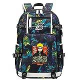 GOYING Uzumaki Naruto/Uchiha Itachi/Sharingan Anime Cosplay Bookbag College Bag Mochila Mochila Escolar con Puerto de Carga USB-C